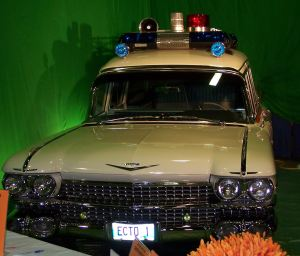 A locally built replica of the ECTO-1 from Ghostbusters