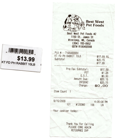 Best West Pet Foods Receipt