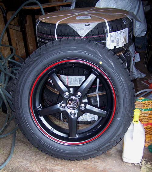 MSW Type 16 rims with 225/60R18 Bridgestone Blizzak WS70 tires
