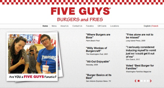 Five Guys Website